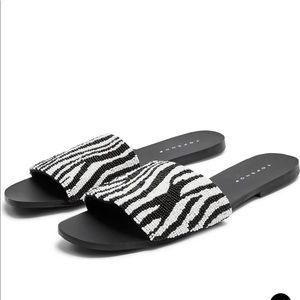 Topshop Beaded Zebra Stripe Slide Sandals